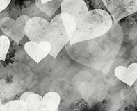 Black and white painted hearts backgrounds. With copy space Stock Photos