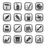 Black and white painting and art object icons. Vector icon set Royalty Free Stock Photography