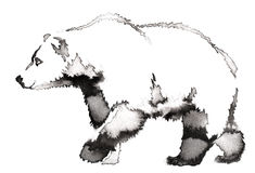 Black and white painting with water and ink draw bear illustration Royalty Free Stock Images