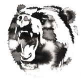 Black and white painting with water and ink draw bear illustration Royalty Free Stock Photography