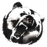 Black and white painting with water and ink draw bear illustration stock illustration