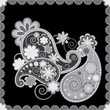 Black an white Paisley background Stock Photo