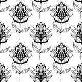 Black and white paisley floral pattern Royalty Free Stock Photo