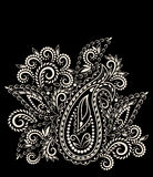 Black and white paisley pattern. Vector object isolated on black background. Stock Photography