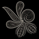Black and white paisley pattern. Vector object isolated on black background. Stock Images