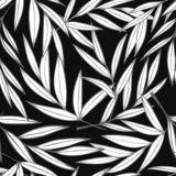 Black and white palm leaves with grey outline seamless pattern vector illustration