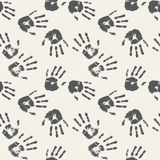 Black and white palm prints. Seamless background Royalty Free Stock Photo
