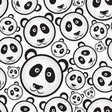 Black and white panda bear head seamless pattern Stock Image