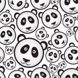 Black and white panda bear head seamless pattern Stock Image