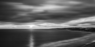 Black and white panorama, the beach of Falesia. Royalty Free Stock Images