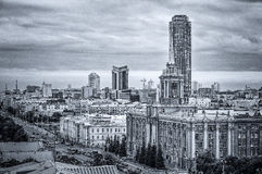 Black and white panorama business centre of Ekaterinburg, capital of Ural, Russia, area of 5 years, 15.08.2014 year Stock Photography