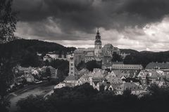 Black and white panorama of Cesky Krumlov. Czech Republic Stock Photo