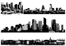 Black and white panorama cities. Stock Images