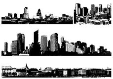 Black and white panorama cities. Royalty Free Stock Image