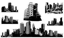 Black and white panorama cities. stock illustration