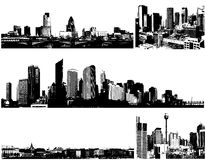 Black and white panorama cities. Vector Royalty Free Stock Photo