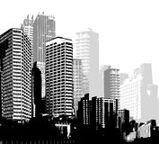 Black and white panorama cities. Stock Image