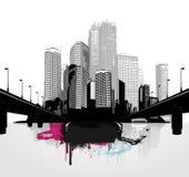 Black and white panorama cities. Stock Photos