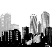Black and white panorama cities. Royalty Free Stock Photo