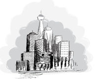 Black and white panorama cities. vector illustration