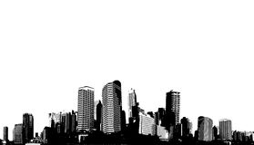Black and white panorama city. Stock Photos