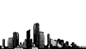 Black and white panorama city. Royalty Free Stock Images