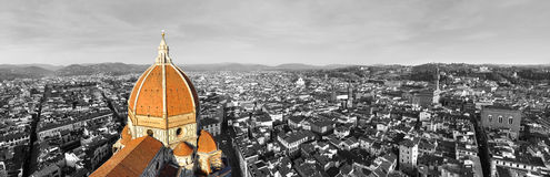 Black and white panorama of the city of Florence, Italy with selective color on the cathedral Stock Photos