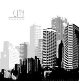 Black and white panorama of cityscape Royalty Free Stock Photo
