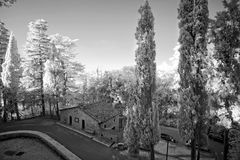 Black and white panorama of Italy. The survey was conducted in the infrared range. It turned out a classic black and white photo Royalty Free Stock Photography