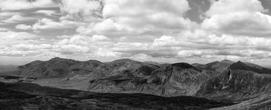Black and white panorama the mournes. Panorama photo of the mourne mountains in ireland Royalty Free Stock Photo