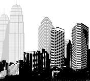 Black and white panorama of skyscrapers. Stock Photography