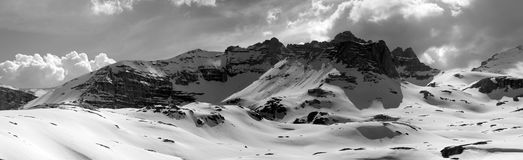 Black and white panorama of snowy mountains Royalty Free Stock Image