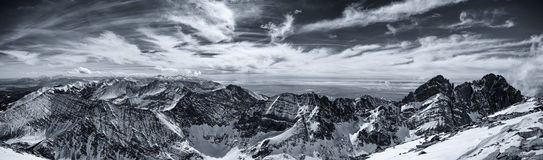Black and White Panorama - Winter in the Colorado Rocky Mountains Stock Photography