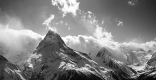 Black and white panorama of winter snow mountain at sun day Royalty Free Stock Photos
