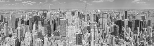 Black and white panoramic picture of Manhattan, NYC. Royalty Free Stock Images