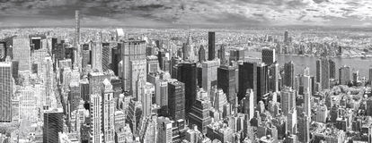 Black and white panoramic view of Manhattan. Stock Image