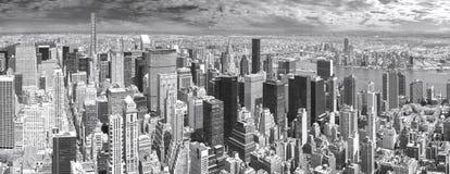Black and white panoramic view of Manhattan. Stock Image