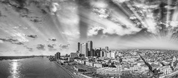 Black and white panoramic view of New Orleans, Louisiana Royalty Free Stock Photos
