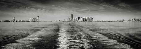 Black & White panoramic view New York skyline as seen from State. New York cityscape encompassing Lower Manhattan with Battery Park and the Financial District Royalty Free Stock Images