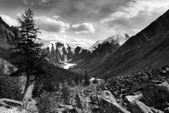 Black and white panoramic view of savlo valley Royalty Free Stock Image