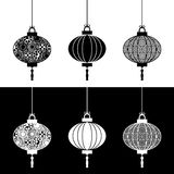 Black and white paper lanterns Royalty Free Stock Photo