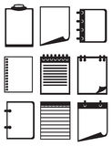Black and white Paper and Notebook Vector Icon Set Royalty Free Stock Images