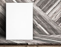Black White paper poster lean at tropical wood wall and tropical Stock Photography