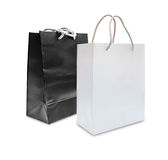 Black and white paper shopping bag isolated Royalty Free Stock Images