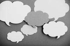 Black and white paper speech bubbles Royalty Free Stock Image