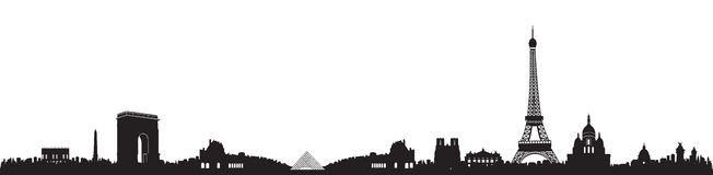 Black and White Paris Skyline Silhouette Royalty Free Stock Photography
