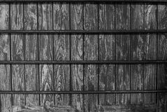 In black and white , Part of wood windows  and iron. Royalty Free Stock Photography