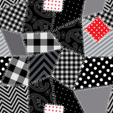 Black-white Patchwork with red patch Stock Images