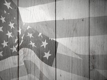 Black and White Patriotic Flag Background. American flag background over wood Stock Photos