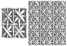 Black and white  pattern of basketry Stock Photos